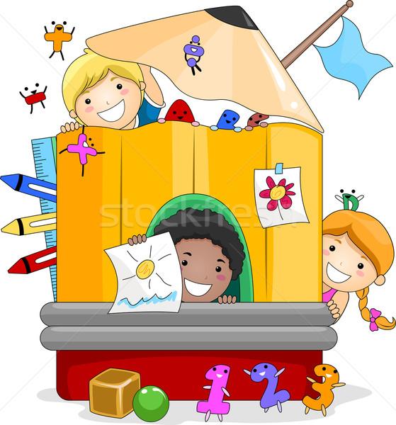 Crianças brincando ilustração dentro gigante lápis Foto stock © lenm
