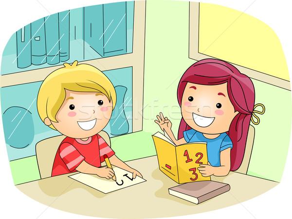 Matematika tutorial illusztráció gyerek lány könyv Stock fotó © lenm
