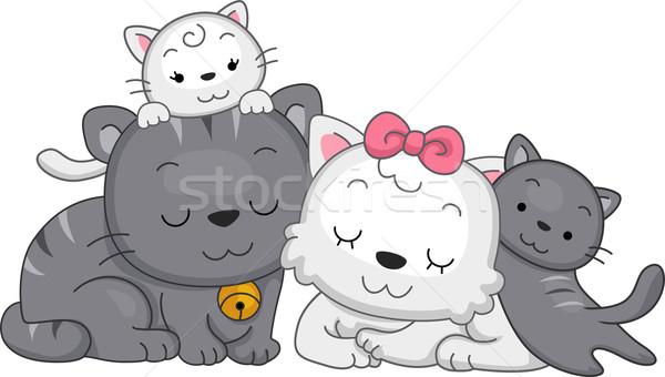 Cat Family Stock photo © lenm