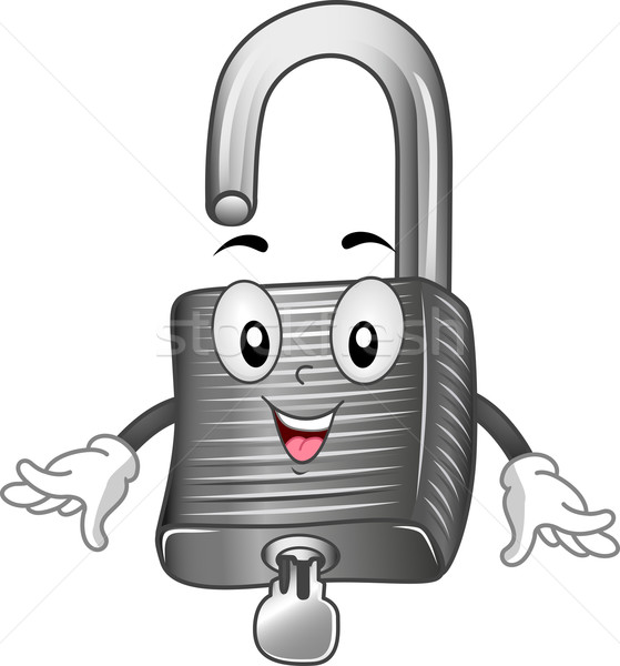 Cadenas mascotte illustration sécurité lock cartoon Photo stock © lenm