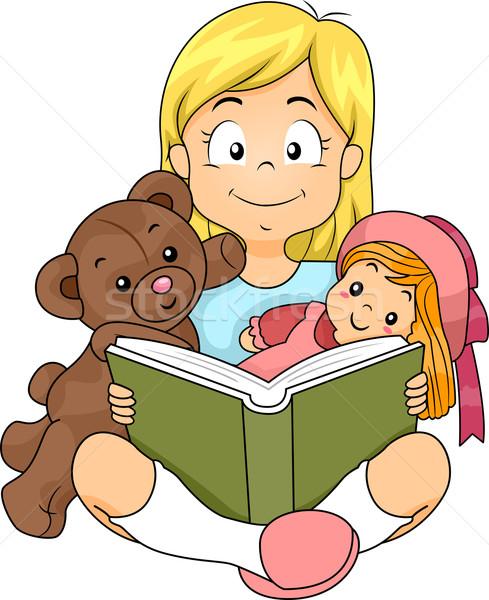 Olvas lány illusztráció történet játékok fiatal Stock fotó © lenm