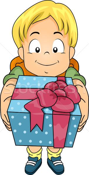 Geschenk jongen illustratie kid mannelijke Stockfoto © lenm