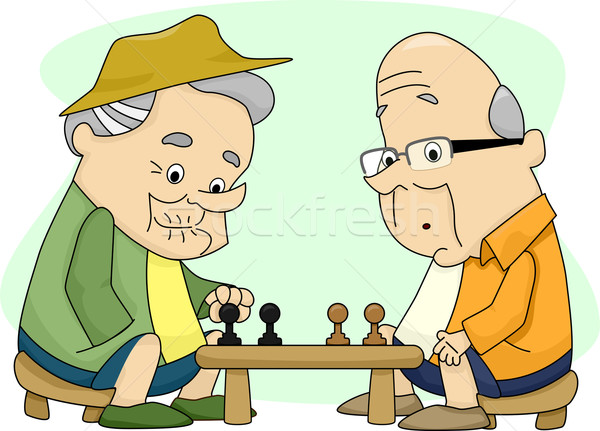 Old Men Playing Chess Stock photo © lenm