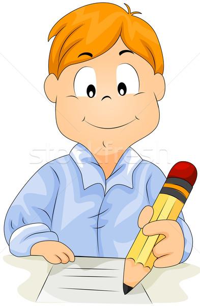 Boy Writing Stock photo © lenm