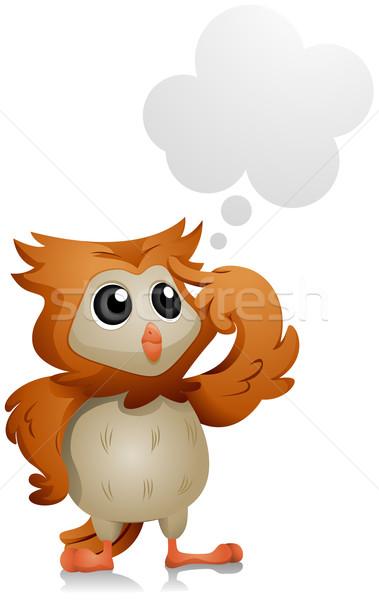 Coruja pensando escolas animal desenho animado Foto stock © lenm