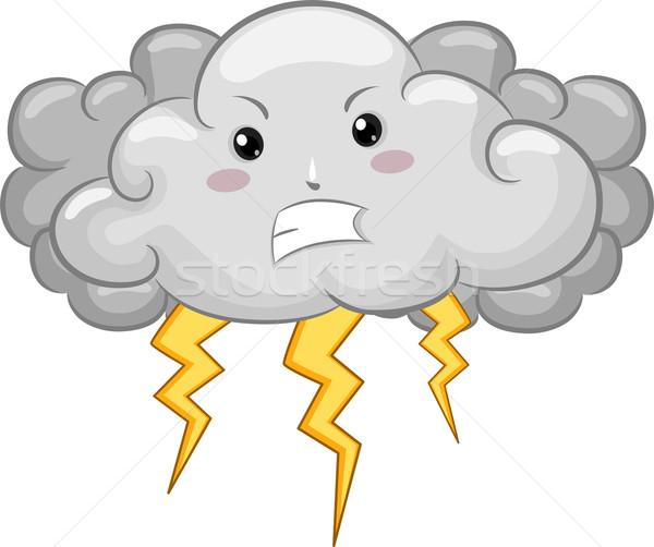 暗い 雲 マスコット 雷 実例 怒っ ストックフォト © lenm