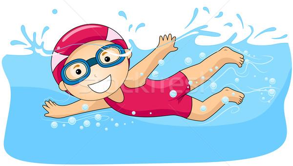 Boy swimming Stock photo © lenm