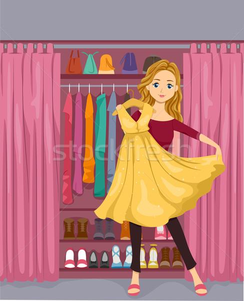 Kız klozet örnek ayakta sarı Stok fotoğraf © lenm