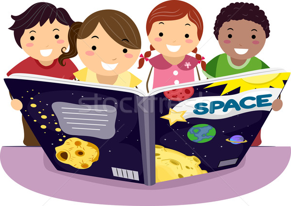 Enfants apprentissage astronomie illustration ensemble enfant Photo stock © lenm