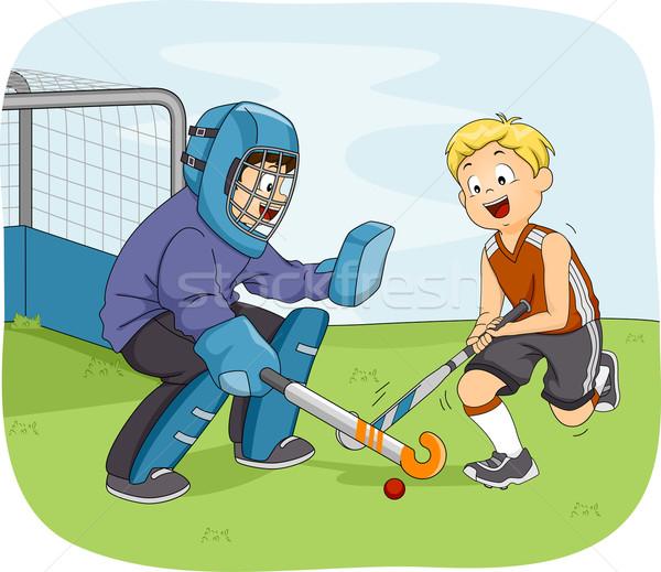 Gyeplabda fiúk illusztráció kicsi játszik gyerekek Stock fotó © lenm