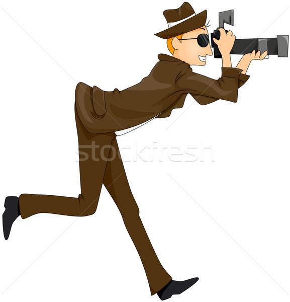 Paparazzi desenho animado lente fotógrafo vetor Foto stock © lenm