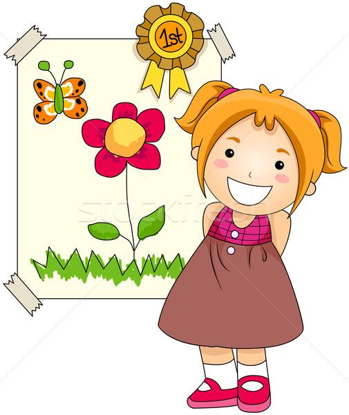 Vergabe Mädchen Kunstwerk Blume Schule Stock foto © lenm