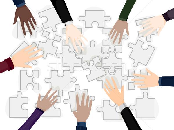 üzleti csapat problémamegoldás üzlet kezek kirakó darabok vágási körvonal Stock fotó © lenm