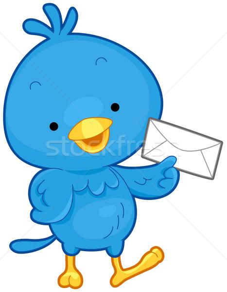 Stockfoto: Vogel · mail · weinig · envelop · geïsoleerd