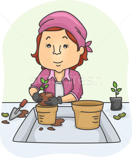 Girl Plant Pot Stock photo © lenm