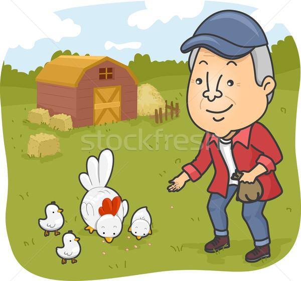 Senior man kip boerderij illustratie Stockfoto © lenm