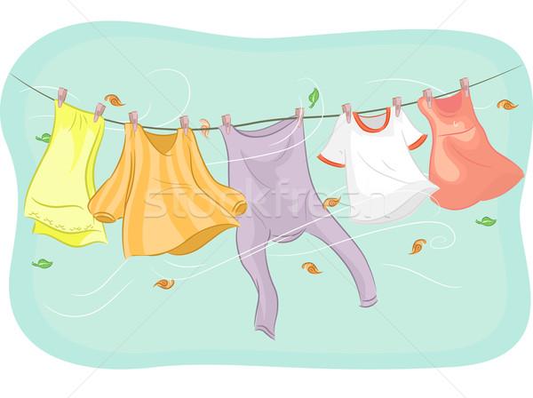 Viento ilustración ropa colgante arte Foto stock © lenm
