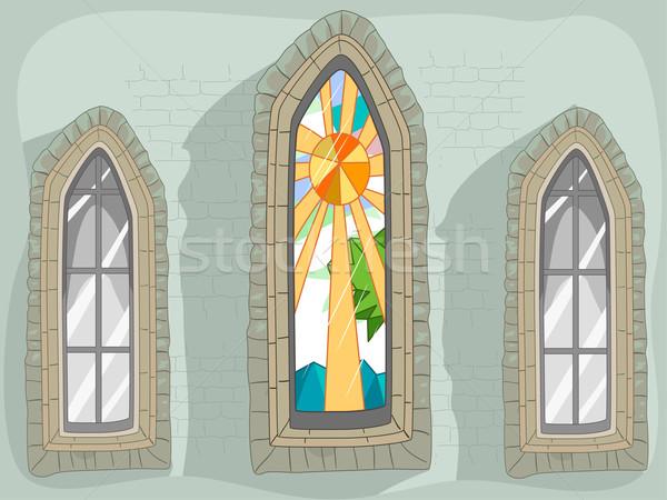 窓 ステンドグラス 実例 ウィンドウ デザイン 建物 ストックフォト © lenm