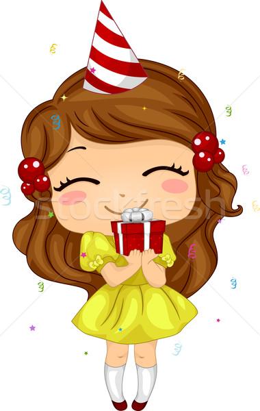 Stockfoto: Kid · verjaardag · geschenk · illustratie · meisje