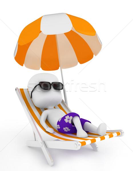 Rahatlatıcı 3d illustration adam şezlong yaz dinlenmek Stok fotoğraf © lenm
