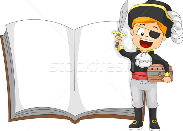Piraat boek illustratie kid permanente naast Stockfoto © lenm