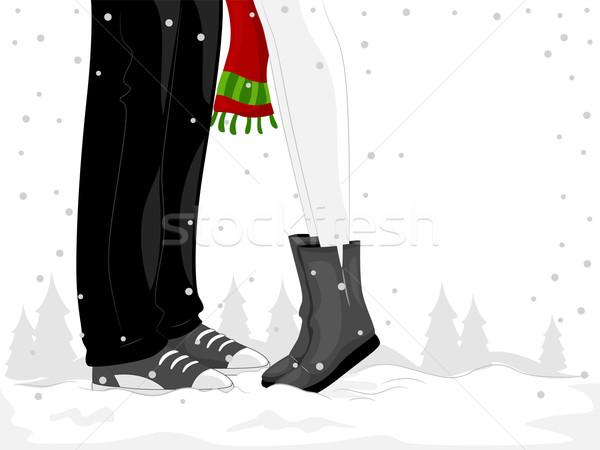 çift ayaklar örnek kadın öpüşme adam Stok fotoğraf © lenm