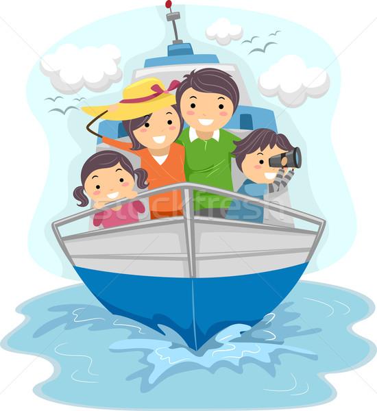 Família navio ilustração homem crianças Foto stock © lenm