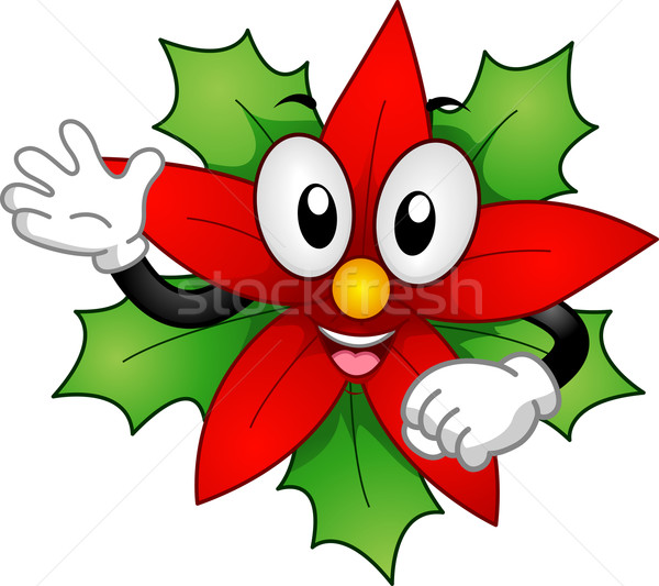 Poinsettia Mascot Stock photo © lenm