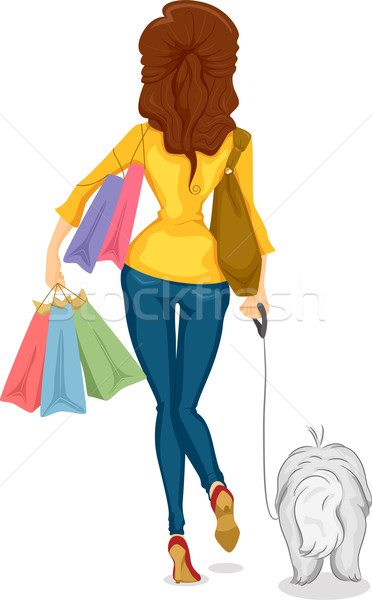 Back View of Girl Shoping with Dog Stock photo © lenm