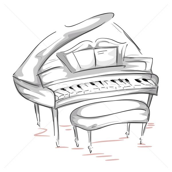 Kuyruklu piyano kroki notlar açmak sanat klibi Stok fotoğraf © lenm