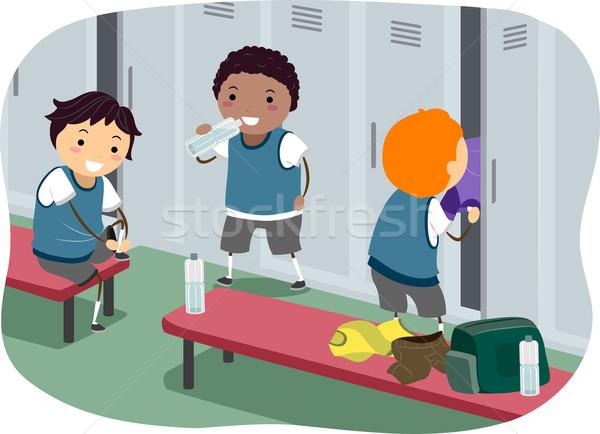 мальчики раздевалка иллюстрация подвесной из дети Сток-фото © lenm
