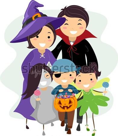 Szörnyek halloween buli illusztráció gyerekek visel Stock fotó © lenm