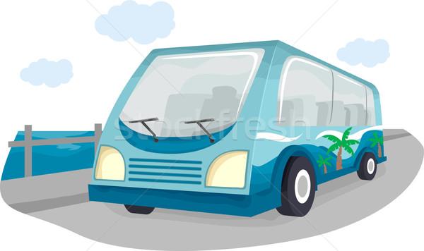 Tour Bus Illustration Strand Szene Karikatur Stock foto © lenm
