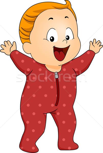 Baby jongen pyjama illustratie gelukkig Stockfoto © lenm