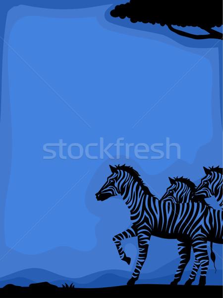 Zèbre silhouette fond illustration zèbres savane Photo stock © lenm