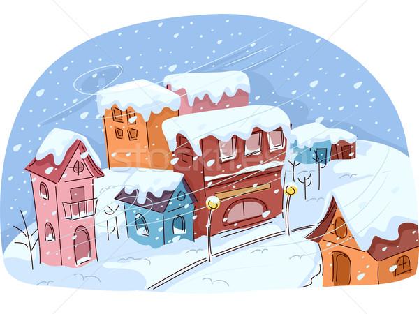 Sneeuwstorm stad illustratie kleine stad lijden winter Stockfoto © lenm