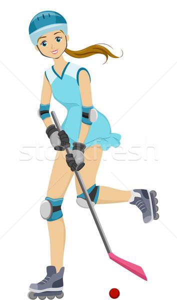 Teen Girl Roller Hockey Stock photo © lenm