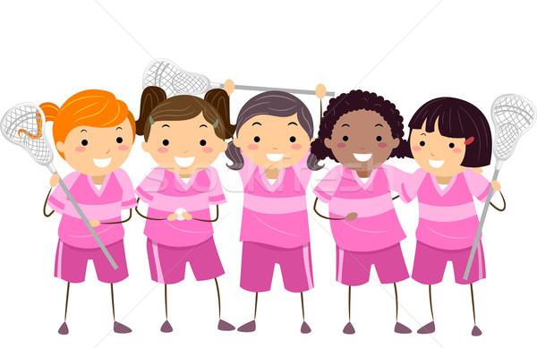 Dziewcząt rodzaj gry w hokeja zespołu ilustracja narzędzi dziewczyna Zdjęcia stock © lenm