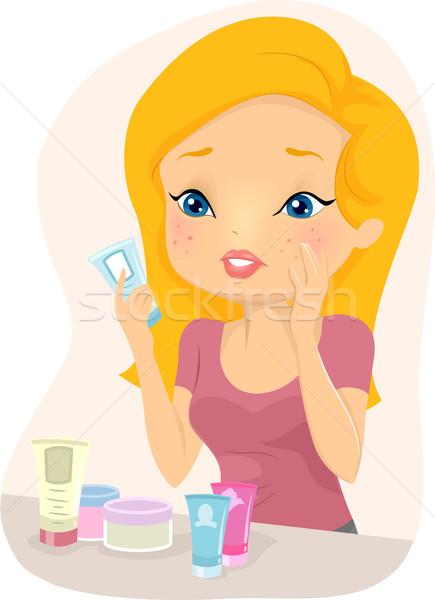 девушки акне продукт иллюстрация Рисунок из Сток-фото © lenm