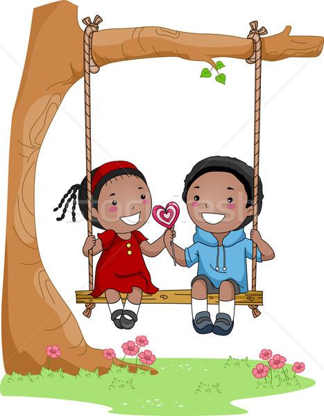 Kids on a Swing Stock photo © lenm