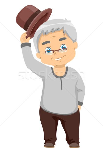 Senior Man Tipping Hat Stock photo © lenm