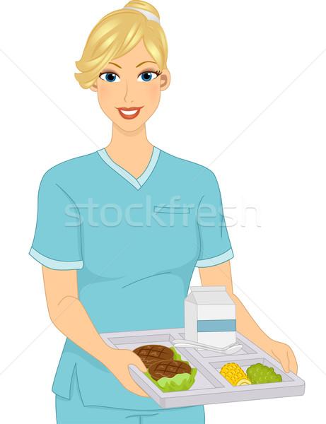 Meisje voedsel dienblad illustratie vrouw Stockfoto © lenm