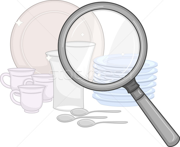 Magnifying Glass Plates Stock photo © lenm