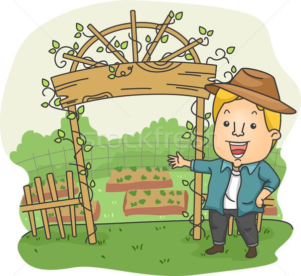 человека приветствую арки фермы иллюстрация Постоянный Сток-фото © lenm