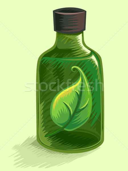 Medicina alternativa folha ilustração garrafa verde Foto stock © lenm