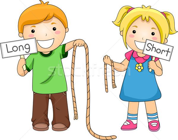 Halat karşılaştırma örnek çocuklar kız çocuk Stok fotoğraf © lenm