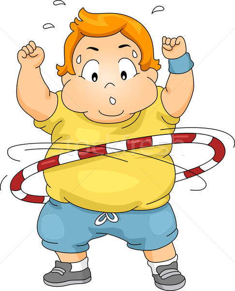 Overweight Boy Using a Hula Hoop Stock photo © lenm