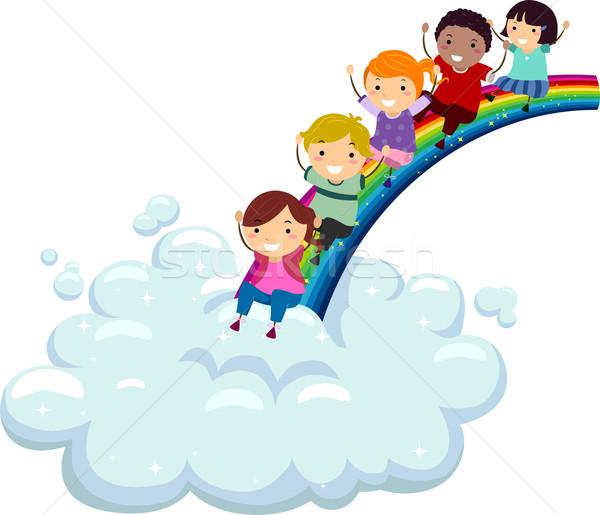Diversiteit regenboog illustratie kinderen verschillend beneden Stockfoto © lenm