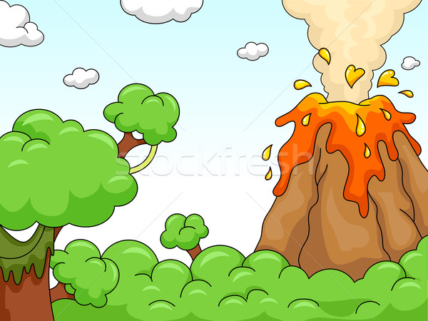 Vulkaan uitbarsting scène illustratie bos Stockfoto © lenm