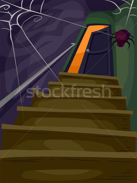 Halloween huis illustratie vlucht trap leidend Stockfoto © lenm
